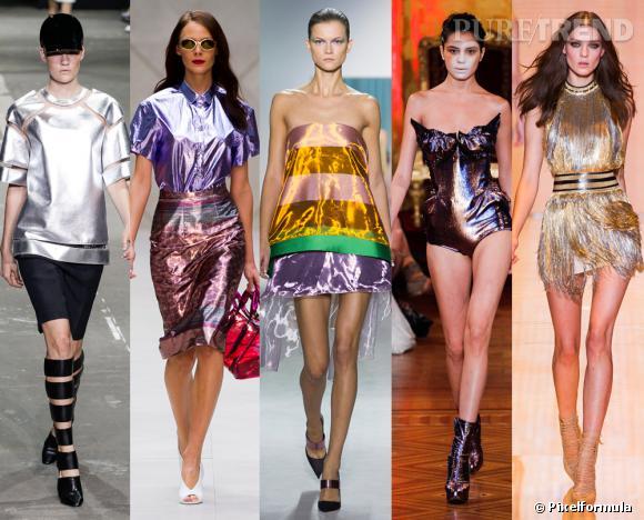 Les tendances phares du Printemps-Eté 2013 : le métallique        Vu aux défilés  Alexander Wang, Burberry prorsum, Christian Dior, Vivienne Westwood et Versace