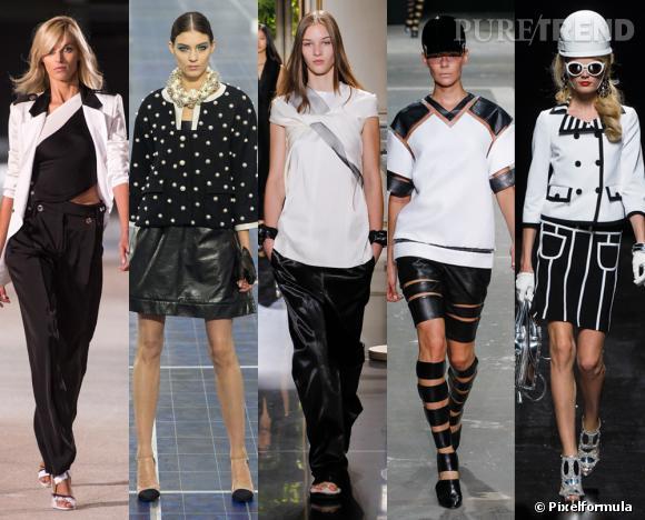 Les tendances phares du Printemps-Eté 2013 : le duo noir et blanc graphique        Vu aux défilés  Anthony Vaccarello, Chanel, Céline, Alexander Wang et Moschino