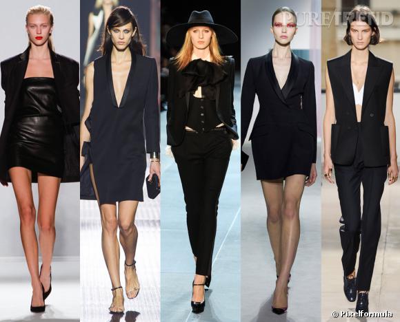 Les tendances phares du Printemps-Eté 2013 : le smoking revisité        Vu aux défilés  Barbara Bui, Lanvin, Saint Laurent, Christian Dior et Balenciaga