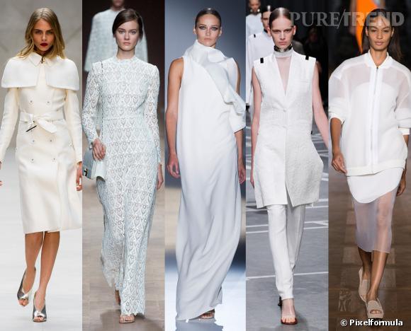 Les tendances phares du Printemps-Eté 2013 : le total look immaculé        Vu aux défilés  Burberry Prorsum, Valentino, Gucci, Givenchy et Stella McCartney