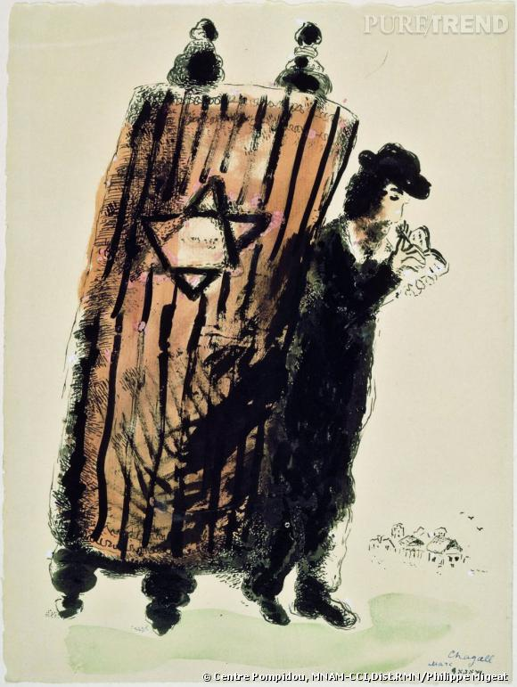 Marc Chagall - La Thora sur le dos, 1933.