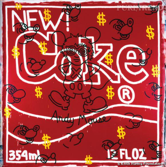 Keith Haring, Andy Mouse – New Coke, 1985. Courtesy Galerie Gmurzynska. Acrylique sur toile.