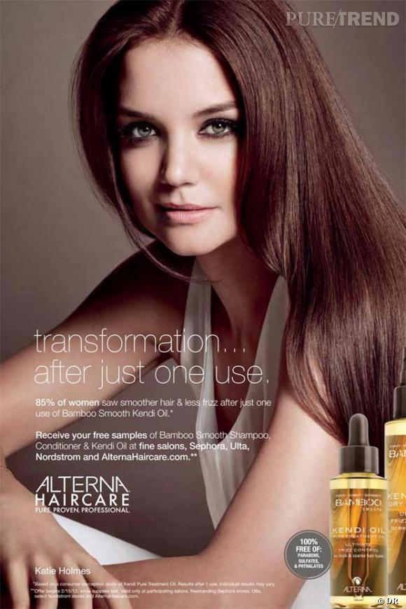 Katie Holmes, nouvelle égérie de la marque Alterna Haircare.