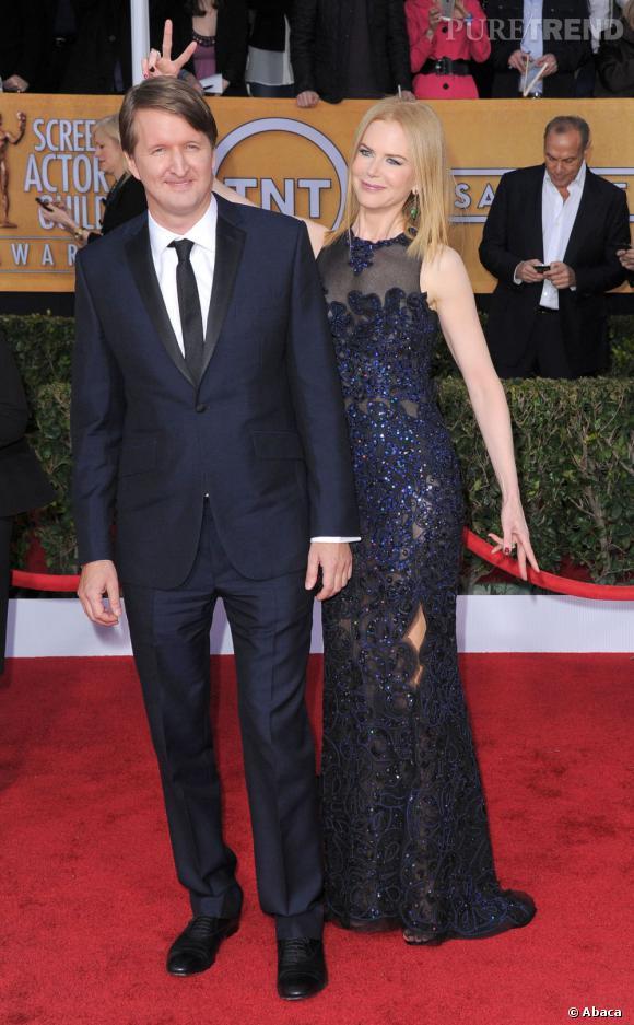 Nicole Kidman et Tom Hooper aux SAG Awards 2013. Elle porte une robe Vivienne Westood.