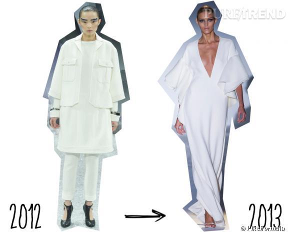 Tendance Hiver 2012 toujours tendance cet Eté 2013 : le total look blanc     Version Automne-Hiver 2012/2013 : version accumulation chez Chanel   Version Printemps-Eté 2013 : version sensuelle et épurée chez Gucci