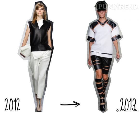 Tendance Hiver 2012 toujours tendance cet Eté 2013 : le noir et blanc graphique     Version Automne-Hiver 2012/2013 : version chic chez Céline   Version Printemps-Eté 2013 : version sportswear chez Alexander Wang