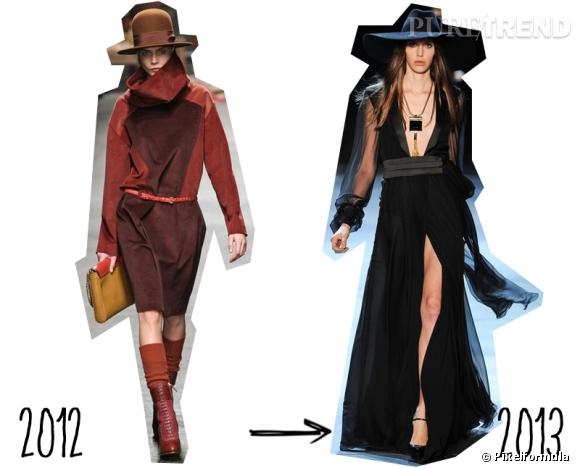 Tendance Hiver 2012 toujours tendance cet Eté 2013 : le chapeau     Version Automne-Hiver 2012/2013 : version baroudeuse chez Trussardi   Version Printemps-Eté 2013 : version capeline rock chez Saint Laurent