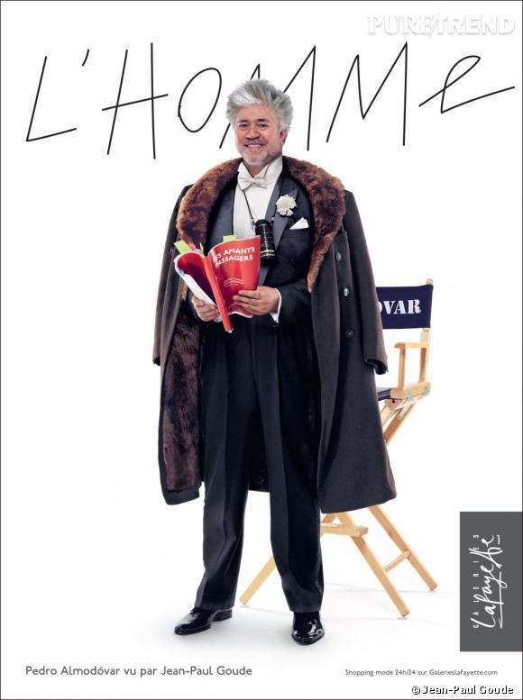 Pedro Almodovar prend la pose devant l'objectif de Jean-Paul Goude pour Lafayette Homme.