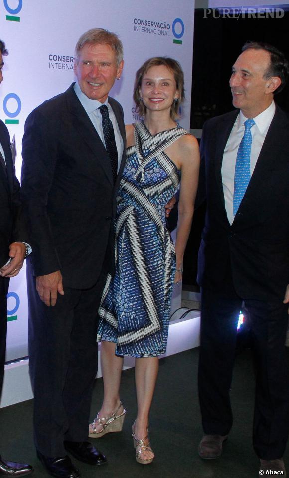 Calista Flockhart et Harrison Ford lors d'une soirée Conservation International à Sao Paulo au Brésil.