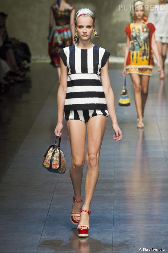 Vue sur les podiums : la tendance rayures      Dolce & Gabbana, défilé Printemps-Eté 2013