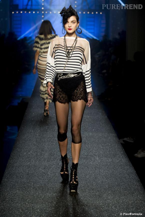 Vue sur les podiums : la tendance rayures      Jean Paul Gaultier, défilé Printemps-Eté 2013