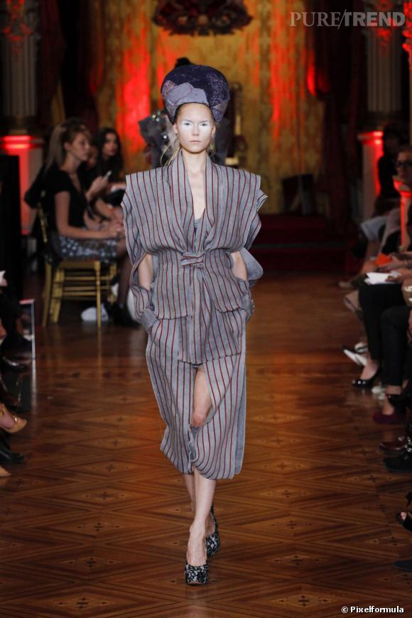 Vue sur les podiums : la tendance rayures      Vivienne Westwood, défilé Printemps-Eté 2013