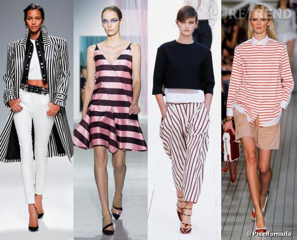 Vue sur les podiums : la tendance rayures Défilés Printemps-Eté 2013 Balmain, Dior, Chloé, Tommy Hilfiger