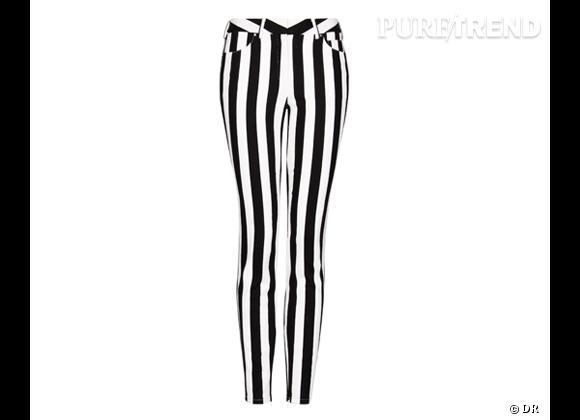 Tendance shopping graphique noir et blanc : le bon shopping      Jean à rayures Mango, 34,99 €