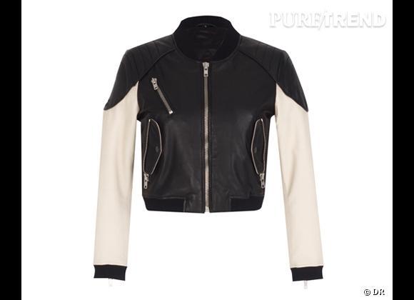 Tendance shopping graphique noir et blanc : le bon shopping      Blouson motard en cuir Zara, 179 €