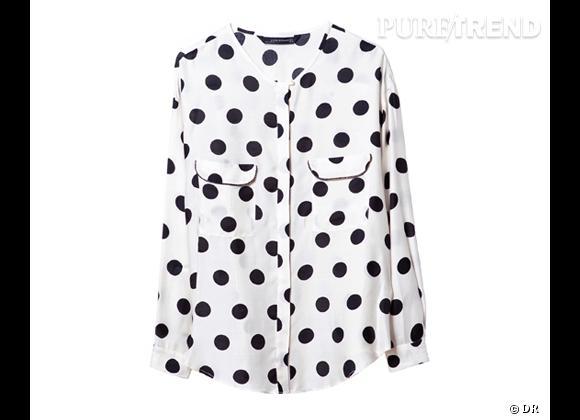 Tendance shopping graphique noir et blanc : le bon shopping      Chemise à pois Zara, 49,95 €