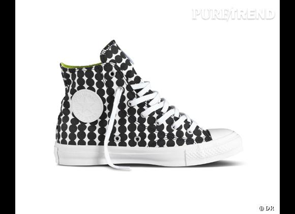 Tendance shopping graphique noir et blanc : le bon shopping      Baskets Chuck Taylor, CTAS Marimeko, Converse, 90 €