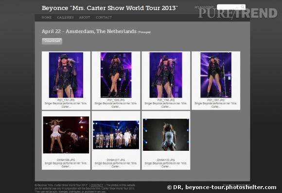 C'est sur le site beyonce-tour.photoshelter.com que les journalistes pourront télécharger des photos des concerts...