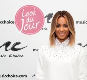 Ciara : total look blanc et allure feminine dans un sweat Givenchy homme