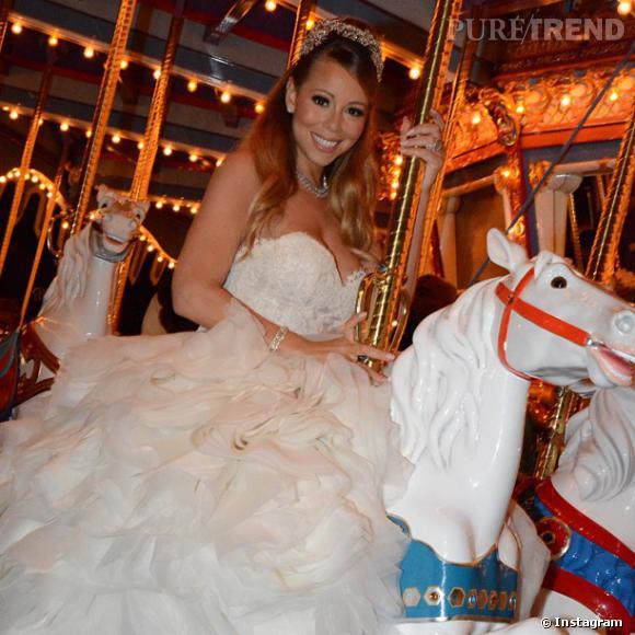 Mariah Carey a réalisé son rêve mardi, en renouvelant ses voeux avec Nick Cannon à Disney, revêtue d'une robe de princesse.