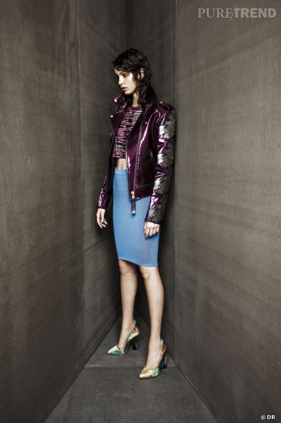 Urban Outfitters collection Printemps-Eté 2013 : silhouettes coups de coeur    Veste et top House of Holland, jupe Carin Wester, talons Miista