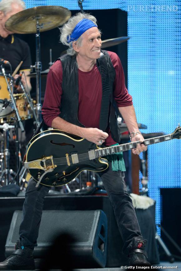 Keith Richards en Hedi Slimane pour Saint Laurent au Staples Center de Los Angeles.