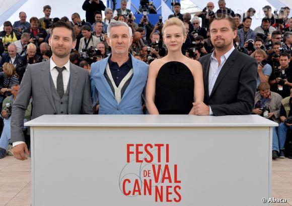 """Tobey Maguire, Baz Luhrmann, Carey Mulligan et Leonardo DiCaprio, réunis pour le photocall de """"Gatsby le Magnifique"""" au 66ème Festival de Cannes."""