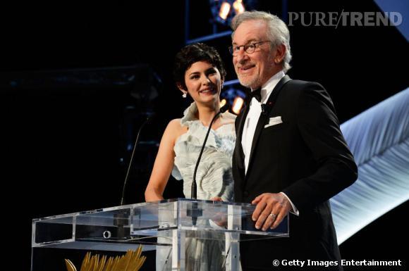 Audrey Tautou, maîtresse de cérémonie du 66e Festival de Cannes et Steven Spielberg, président du jury.