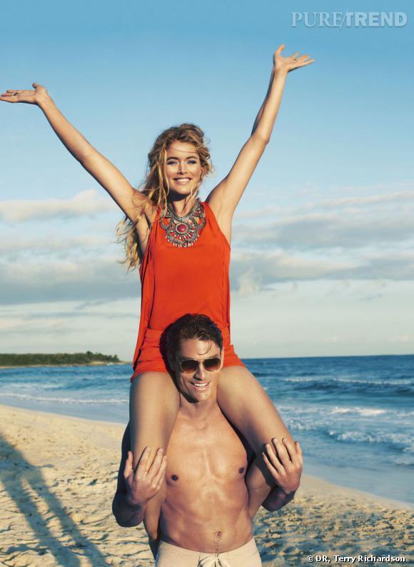Doutzen Kroes sur les plages de Tulum au Mexique pour le tournage de la nouvelle ligne d'H&M.