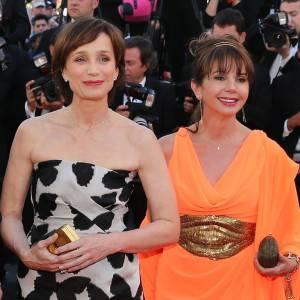 """Kristin Scott Thomas en Lanvin et bijoux Chopard et Victoria Abril à la première de """"The Immigrant""""."""