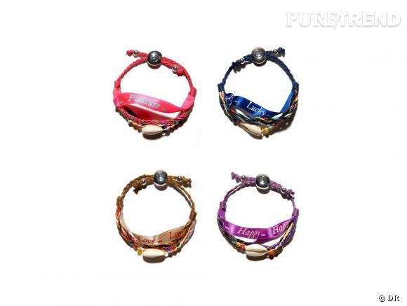 Les bracelets porte-bonheur de Clarins et Hipanema.