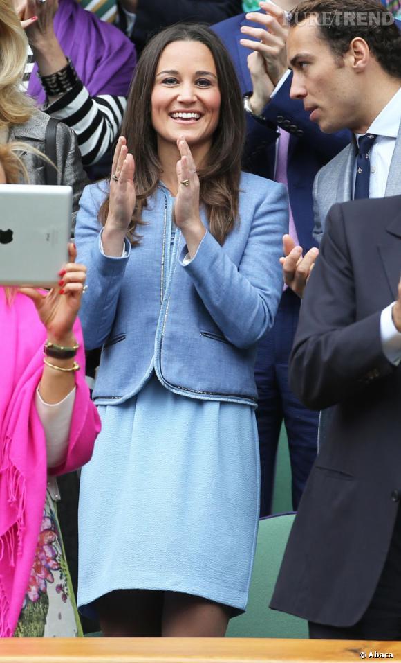 Pippa Middleton était très chic et vêtue de deux pièces Sandro pour assister au tournoi de Wimbledon, le 24 juin 2013, à Londres.