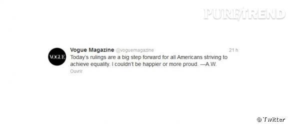 Le tweet d'Anna Wintour sur le compte du magazine Vogue.