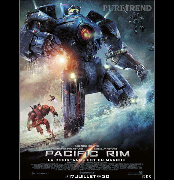 """Le film :  """"Pacific Rim"""".    Le pitch :  Surgies des flots, des hordes de créatures monstrueuses, les """"Kaiju"""", ont déclenché une guerre qui a fait des millions de victimes et épuisé les ressources naturelles de l'humanité pendant des années. Pour les combattre, une arme d'un genre nouveau a été mise au point : de gigantesques robots, les """"Jaegers"""", contrôlés simultanément par deux pilotes qui communiquent par télépathie. Mais même les Jaegers semblent impuissants face aux redoutables Kaiju. Alors que la défaite paraît inéluctable, les forces armées qui protègent l'humanité n'ont d'autre choix que d'avoir recours à deux héros hors normes : un ancien pilote au bout du rouleau et une jeune femme en cours d'entraînement qui font équipe pour manoeuvrer un Jaeger légendaire, quoique d'apparence obsolète. Ensemble, ils incarnent désormais le dernier rempart de l'humanité contre une apocalypse de plus en plus imminente...    La date de sortie :  17 juillet 2013."""