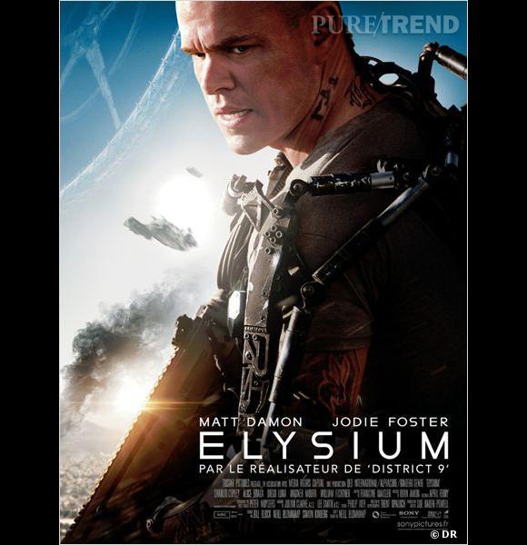 """Le film :  """"Elysium"""".    Le pitch :  En 2159, alors que la population riche vit sur une station spatiale artificielle le reste de la population tente de survivre sur la Terre dévastée. Un homme accepte une mission qui pourrait ramener l'égalité entre les deux mondes.    La date de sortie  : 14 août 2013."""