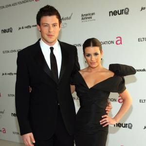 Cory Monteith et Lea Michele à la soirée des Oscars d'Elton John en 2010.