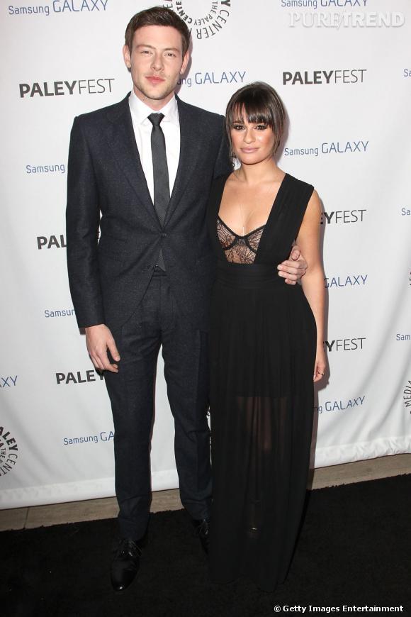 Cory Monteith et Lea Michele lors d'une soirée en l'honneur de Ryan Murphy en 2012.