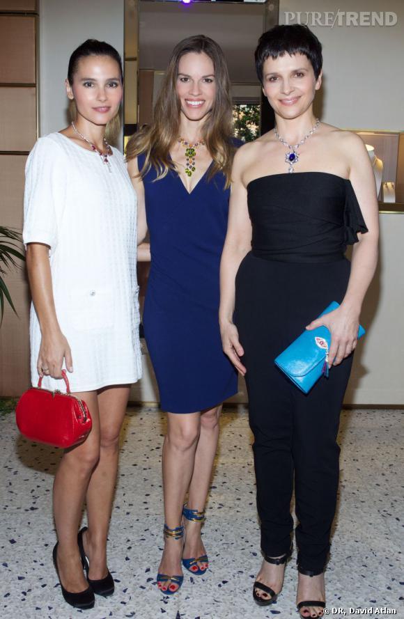 Virginie Ledoyen, Hilary Swank et Juliette Binoche à la soirée d'inauguration de la nouvelle boutique Bulgari à Saint Tropez.