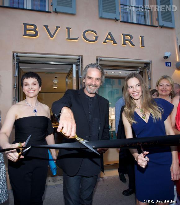 Juliette Binoche, Jeremy Irons et Hilary Swank à la soirée d'inauguration de la nouvelle boutique Bulgari à Saint Tropez.