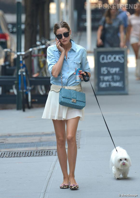 Olivia Palermo ne rate jamais sa sortie quotidienne avec Mr Butler, son adorable chien.