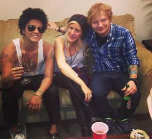 Bruno Mars, Ellie Goulding et Ed Sheeran en soirée. Un featuring en perspective ?