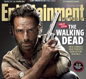 """Andrew Lincoln, menaçant pour la promotion de """"The Walking Dead""""."""