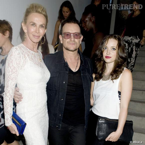 Trudie Styler, Bono et Jordan Hewson au défilé Printemps-Eté 2014 Edun.