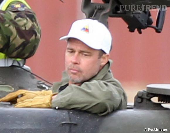 """Brad Pitt s'est tondu la tête de près pour son nouveau film, """"Fury""""."""