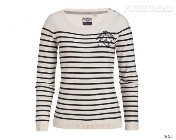Shopping tendance : le look marin      Pull marinière Jacksail, Gaastra, 109,95 €