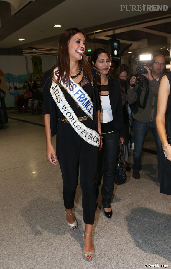 Marine Lorphelin, 1ère dauphine Miss Monde 2013, de retour de Bali le 30 septembre 2013.