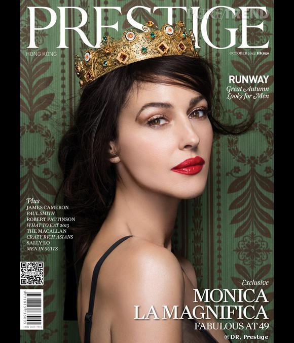 Monica Bellucci en cover du magazine Prestige du mois d'octobre 2013.