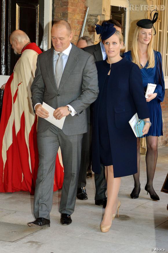 Zara Phillips et son mari, dress code respecté pour la marraine du petite prince.