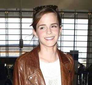 Emma Watson : un style biker sexy a l'aeroport