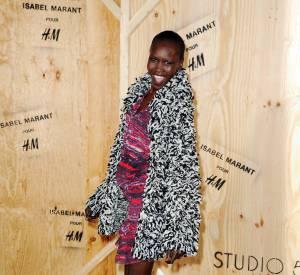 Alek Wek à la soirée de lancement de la collection Isabel Marant x H&M.